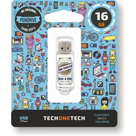 Pendrive 16GB Tech One Tech Beers & Bytes San Midrive Cerveza USB 2.0